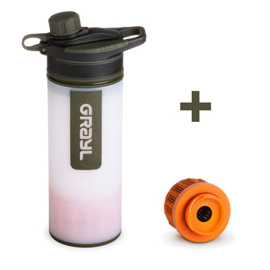 GRAYL GR-004614, GR-004621 Grayl GEOPRESS Water Purifier Bottle with Filter  Extra Filter  Alpine White