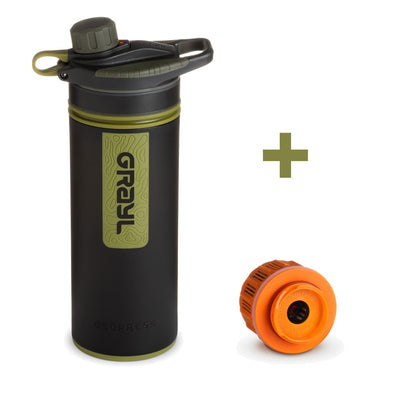 GRAYL GR-004621, GR-004621 Grayl GEOPRESS Water Purifier Bottle with Filter  Extra Filter  Camo Black