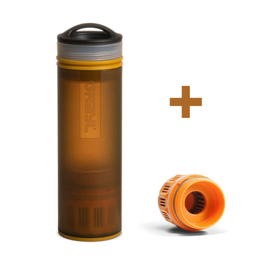 GRAYL GR-004881, GR-004072 Grayl Ultralight Compact Water Purifier Bottle with Filter  Extra Filter  Coyote Amber