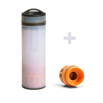 GRAYL GR-004898, GR-004072 Grayl Ultralight Compact Water Purifier Bottle with Filter  Extra Filter  Alpine White