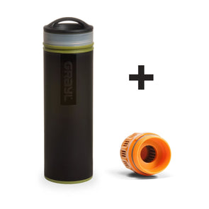 GRAYL GR-004904, GR-004072 Grayl Ultralight Compact Water Purifier Bottle with Filter  Extra Filter  Camo Black