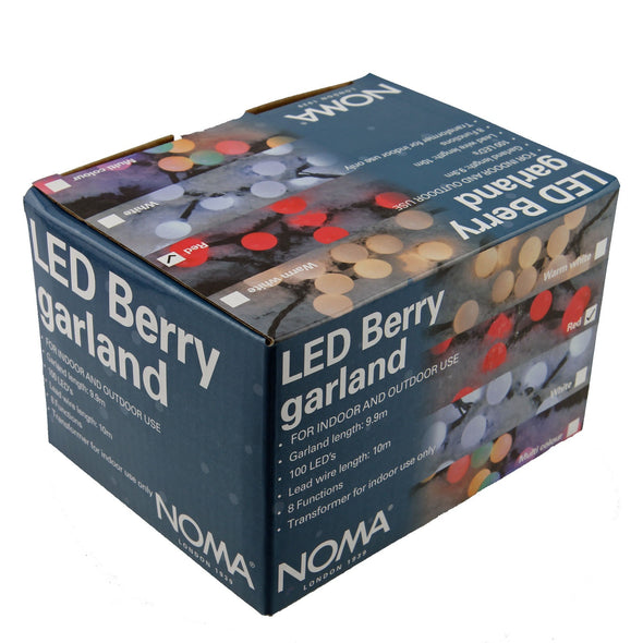 Multifunction Berry Lights : Plug-in with Timer : 100 LED : White