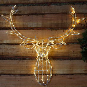 Reindeer Stag Head : Indoor/Outdoor : Plug In : LED Warm White