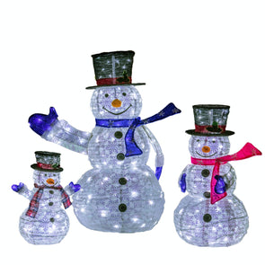 Noma 5618306 Family Of 3 Pop Up Snowmen  270 LED  Plug In  Timer  12m Tall  5618306