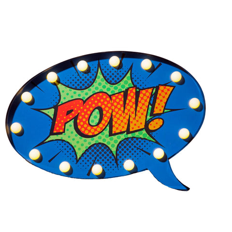 POW! Decorative Wall Sign : Speech Bubble : 40cm : Battery Operated LED Lights : Metal : 7616040