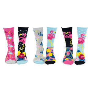 United Odd Socks FLAM Go Flamingo Odd Socks  Adult Size UK 48