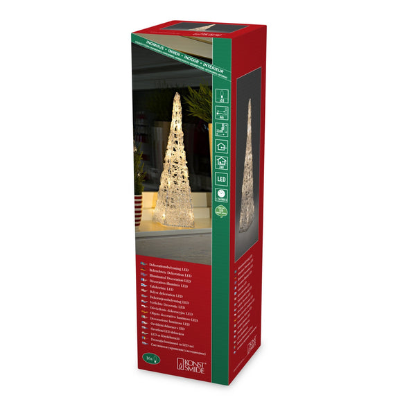 Acrylic Light Up Pyramid : 16 Warm White LEDs : 40cm