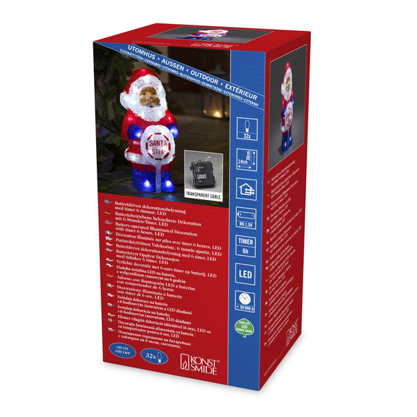 24 LED Acrylic Santa : Battery/Timer