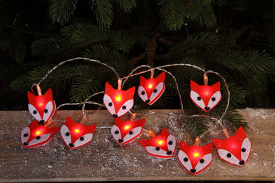 Felt Fox Light String : Battery/Timer : 10 LEDs