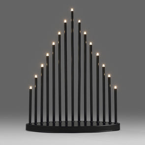 Black Candlestick With 15 Warm White LEDs