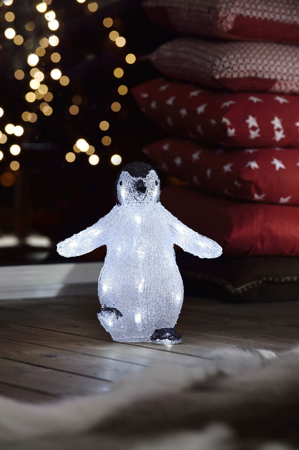 24 LED Acrylic Black & White Penguin : 30cm