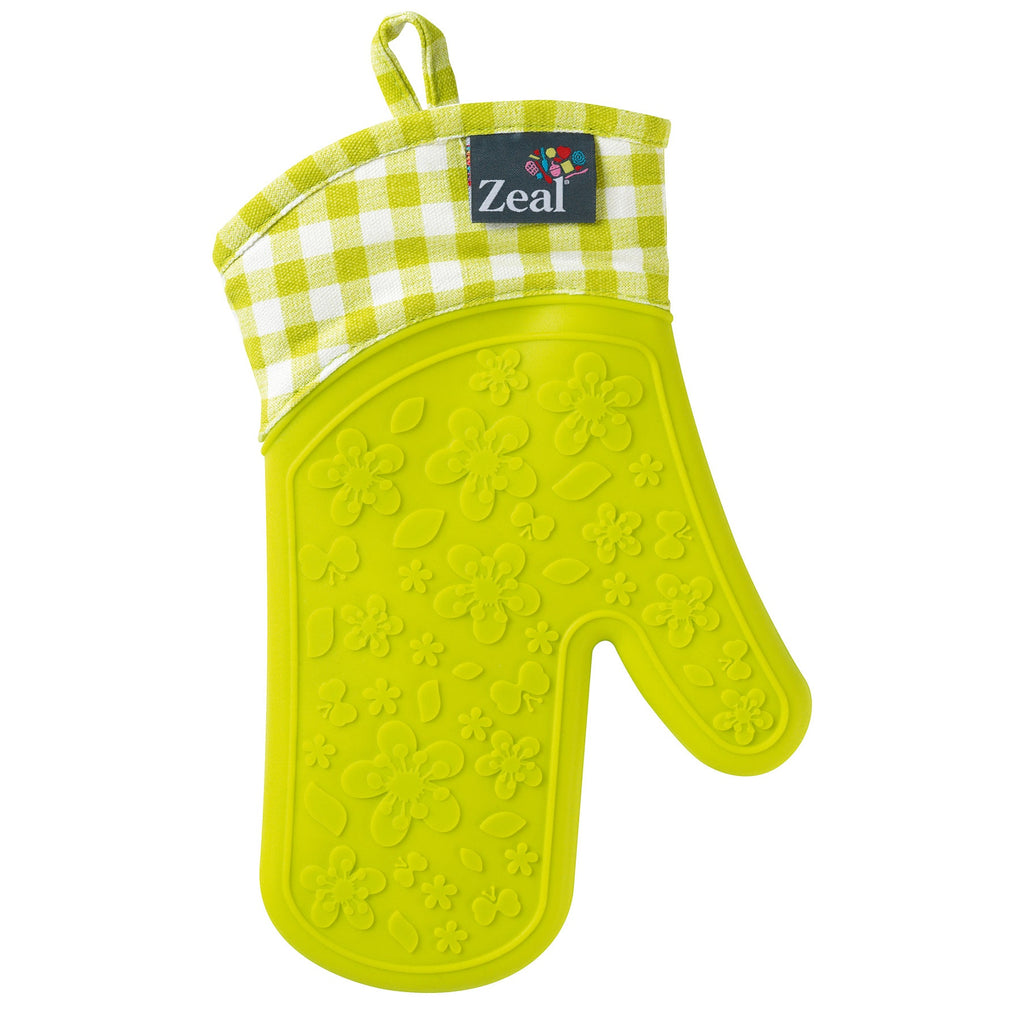 Zeal V104L Steam Stop Oven Glove  Gingham  Lime Green