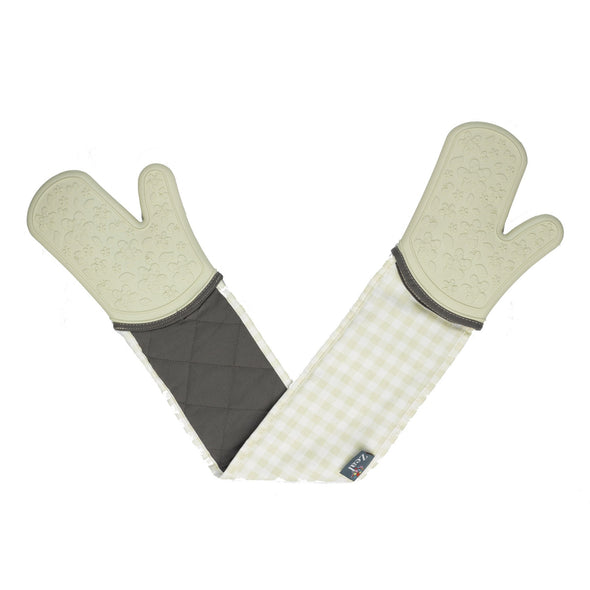Zeal V116C Steam Stop Double Oven Glove  Gingham  Cream