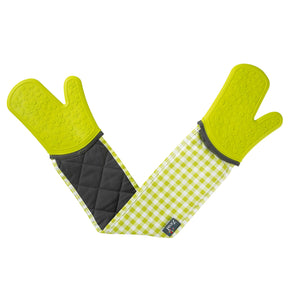 Zeal V116L Steam Stop Double Oven Glove  Gingham  Lime Green
