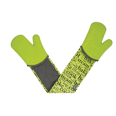 Zeal V118L Steam Stop Double Oven Glove  Hot Print  Lime Green