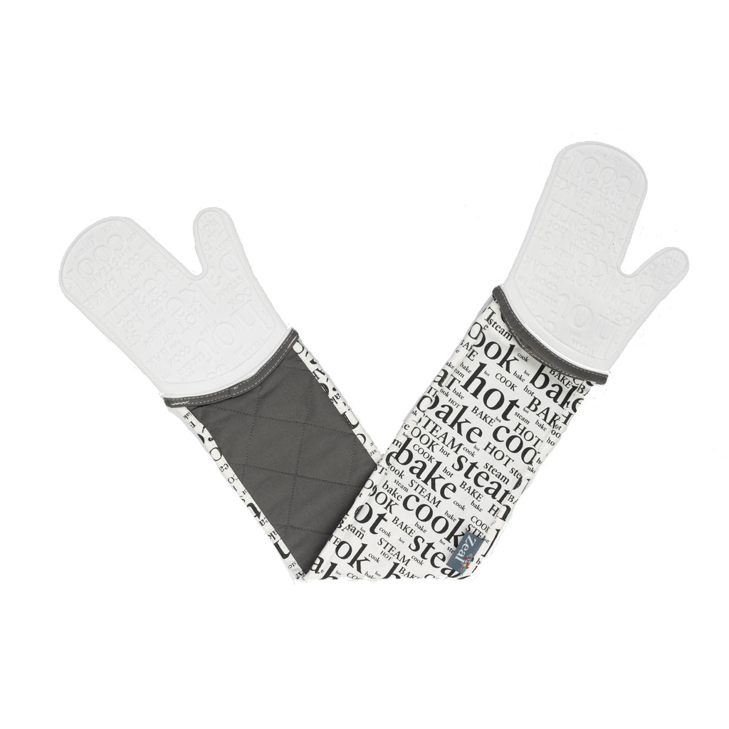 Zeal V118W Steam Stop Double Oven Glove  Hot Print  White