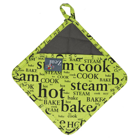 Zeal V119L Silicone Dual Function Square Kitchen HOT GRAB  TRIVET  Hot Print Design  Lime Green