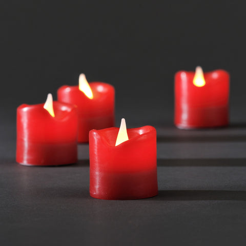 Wax LED 4.5cm Candles : Battery : Set Of 4, Red