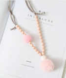 Fur Pom Pom Necklace NYA-2016