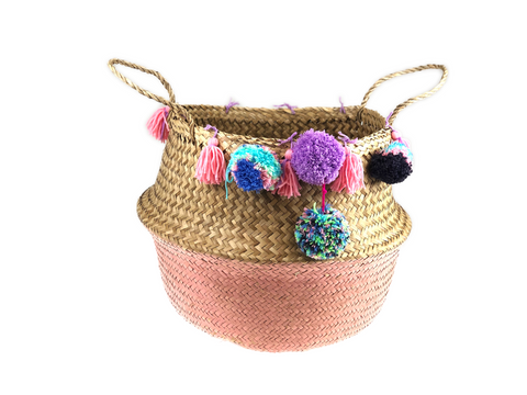 Belly Basket - rose button pom pom & tassels
