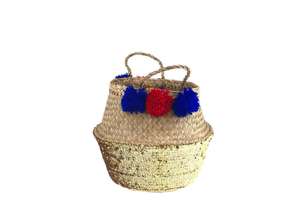 Belly Basket - golden sequin button & pom pom