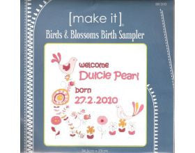 Birds & Blossoms Birth Sampler - Cross Stitch Kit