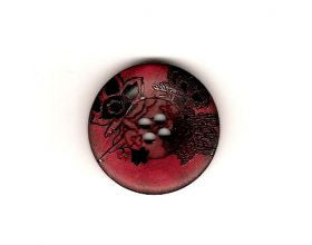 Red Black Flowers Button - 28mm