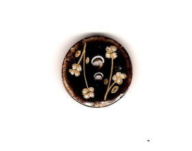 Black Glazed Button with Flowers - 25mm