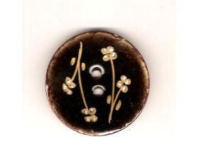 Black Glazed Button with Flowers - 40mm
