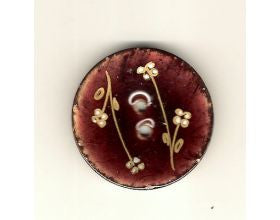 Brown Glazed Button with Flowers - 40mm