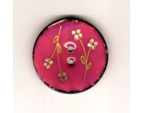 Pink Glazed Button with Flowers - 40mm