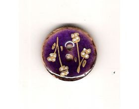 Purple Glazed Button with Flowers - 25mm