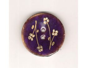 Purple Glazed Button with Flowers - 40mm