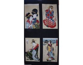 Five Geisha Japanese Fabric Panel