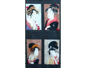 Four Geisha Japanese Fabric Panel