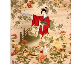 Garden Geisha Japanese Fabric Panel