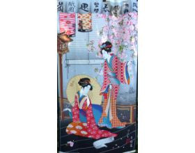 Geishas and Blossom Japanese Fabric Panel