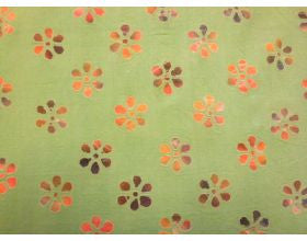 Green Textured with Flowers - Fabric
