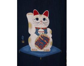 Lucky Cat - Japanese Fabric Panel