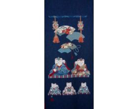Lucky Cats Family Japanese Fabric Panel