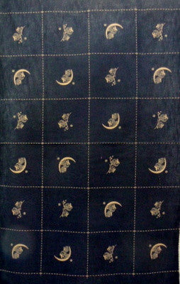Owls on Moon Black - Japanese Fabric Panel