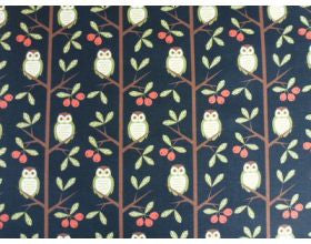 Owl Tree Black and Green - Japanese Fabric