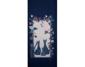 Three Cats Japanese Fabric Panel