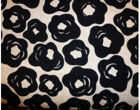 Brushed Flowers Black - Japanese Fabric