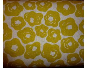 Brushed Flowers Gold - Japanese Fabric