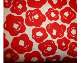 Brushed Flowers Red - Japanese Fabric