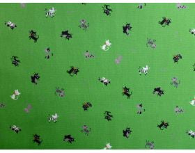 Cat Happy Green - Japanese Fabric