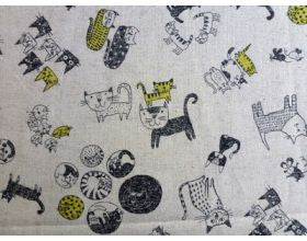 Cats and Cats Natural Japanese Fabric