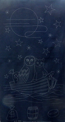 Owl and Pussycat Sashiko Japanese Fabric Panel