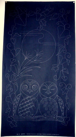 Owl Couple and Moon Sashiko Japanese Fabric Panel